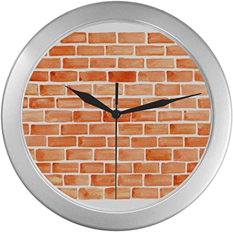 Zxwxnla Decorative Clocks For Walls Brown Brick Wall Wall Clock For Men 9 65 Inch Silver Quartz Frame Decor For Office School Kitchen Living Room Bedroom Home Kitchen