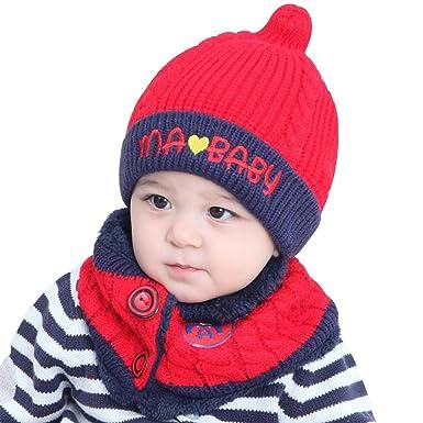 60be373f95e Bonnet hiver pour Bébé Chapeaux bebe Set de 2 pièces Ensemble Echarpe  Calotte Chapeau Bébé Fille