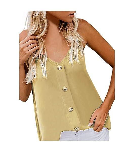 Camisetas sin Mangas de Verano para Mujer Camisas Mujer Fiesta Cuello en V botón Tirantes Camiseta de Tirantes Mujer Camiseta Deportiva Camisa de ...