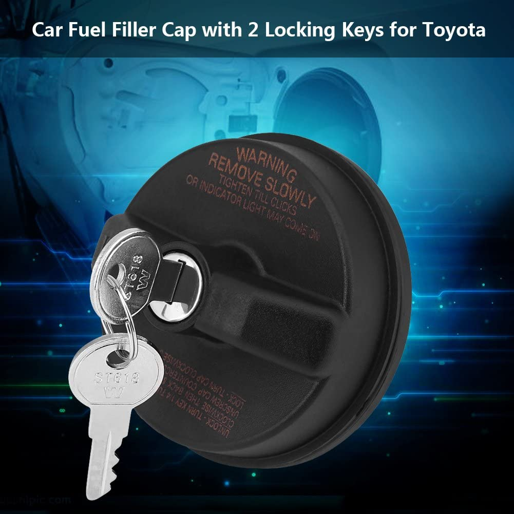 Qiilu Car Fuel Filler Cap with 2 Locking Keys for Toyota 31780 10504