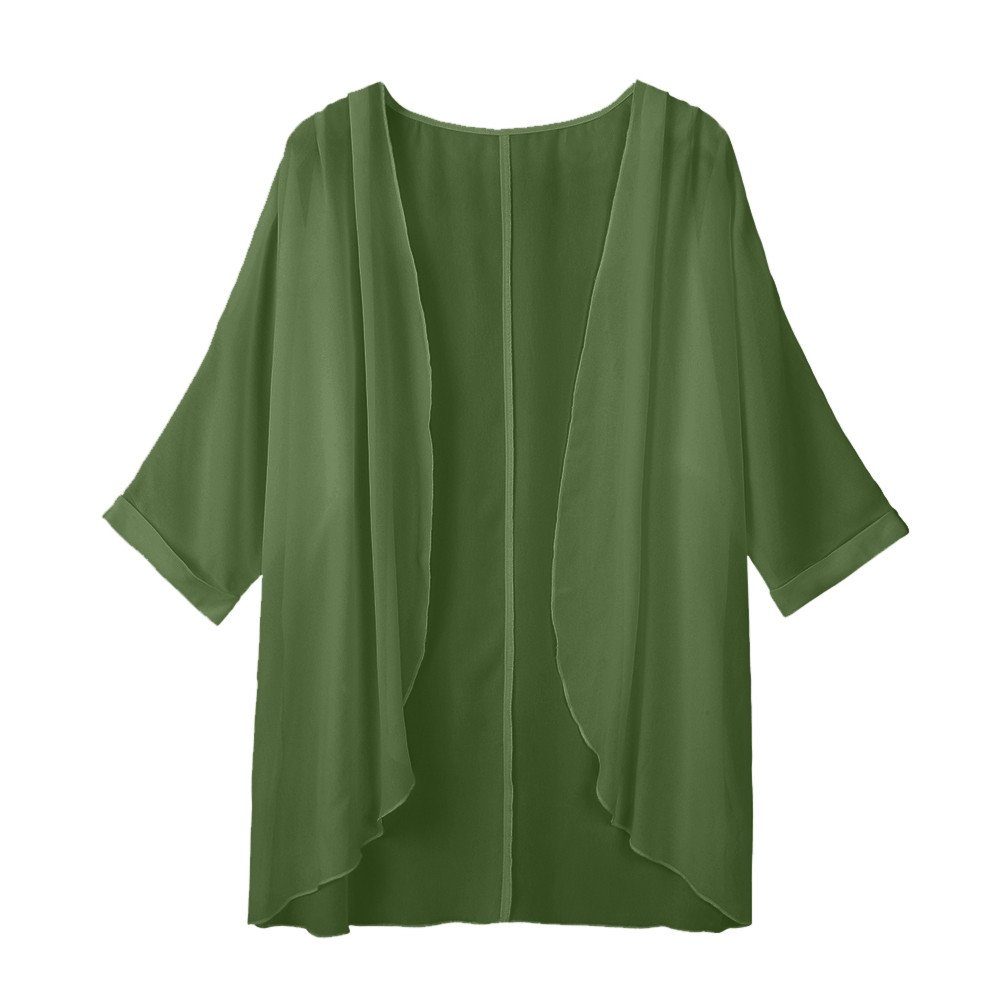VonVonCo Pullover Sweaters for Women, Women's Solid Sheer Loose Kimono Cardigan Casual Beach Capes (F, Army Green)