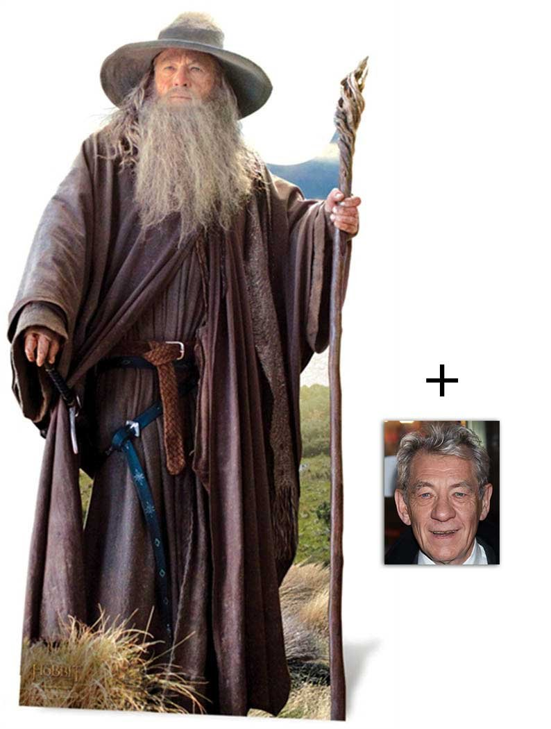 Gandalf (Ian McKellen) Personnage Découpé Dans Du Carton / Silhouette En Carton: Grandeur Nature / Standee / Stand-Up - The Hobbit - Avec Star Photo (Dimensions 25x20 Cm) BundleZ-4-FanZ Fan Packs