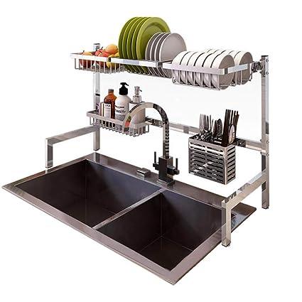a3f624da154a Amazon.com: Dish Drying Rack Over Sink Display Stand Drainer Stainless  Steel Kitchen Supplies Storage Shelf Utensils Holder (Silver): Kitchen &  Dining