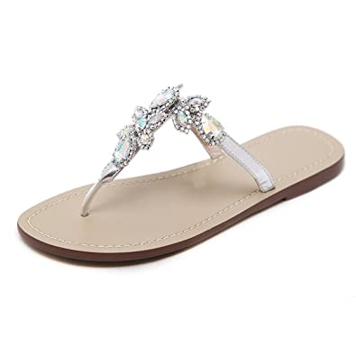 9e1110f39777 ... Flops Shoes Ladies Beach Slipper Casual Sandals Open Toe Slipper Fashion  Indoor   Outdoor Home Flat Comfy Slip-On Shoes with Rhinestone Bead for  Girls