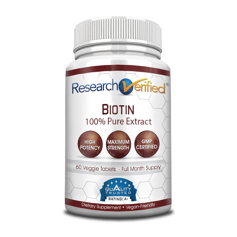 Research Verified Biotin - Pure Biotin Extra Strength 10,000mcg for Improved Hair, Skin and Nail Health - 60 Vegan Capsules, Made in USA