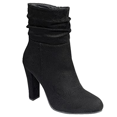 FL61 Women's Slouchy Inner Zipper High Block Heel Ankle Bootie