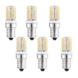 LXcom E14 LED Bulb Microwave Refrigerator Light Bulb 3W LED Appliance Bulb(6 Pack)-2835 SMD 32 LEDs 30W Incandescent Bulb Equivalent Warm White 3000K for Home Appliance, AC 110V