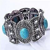 KeyZone Nobby Vintage Natural Oval Turquoise Wide Bangle Tibetan Shining Bracelet