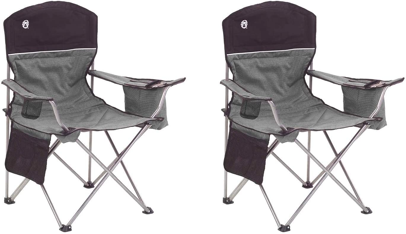 Coleman Oversized Black Camping Lawn Chairs Cooler, 2-Pack 2000020256