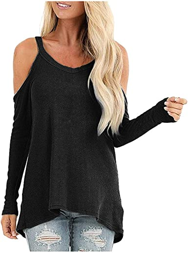 Meikosks Womens Ladies T Shirt Long Sleeve Blouses Off Shoulder Top Casual Leopard Print Tunic