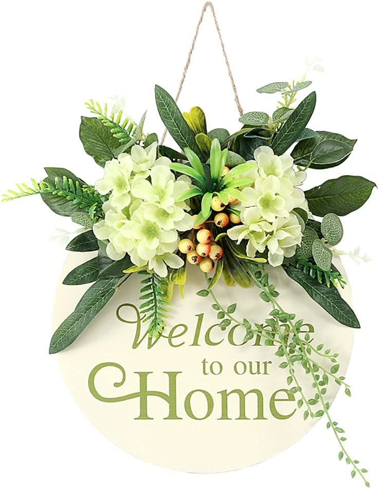 TENGZHEN Welcome Sign for Front Porch Round Wood Welcome Sign for Front Door Decor with