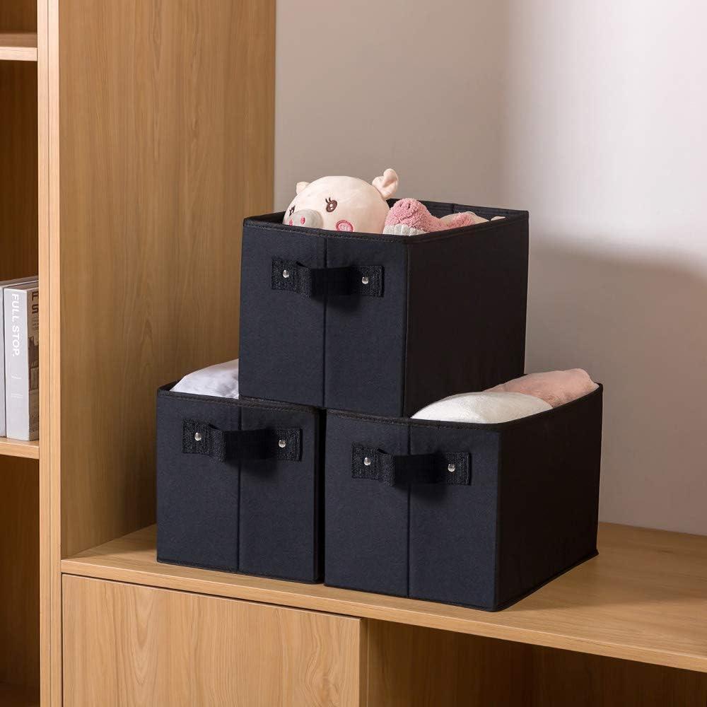 Fabric Closet Organizer Shelf Cube Box with Handle Home Office Storage Baskets Qozary Storage Bin for Shelves Black, Large