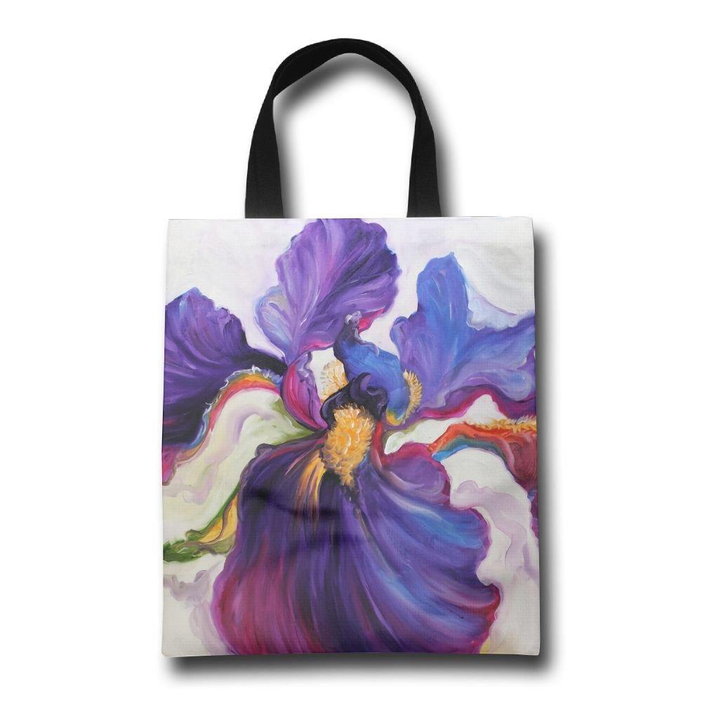 Lqzdqa Purple Iris Art Fashion 再利用可能なショッピングバッグ エコフレンドリー 耐久性 B07GSM844P