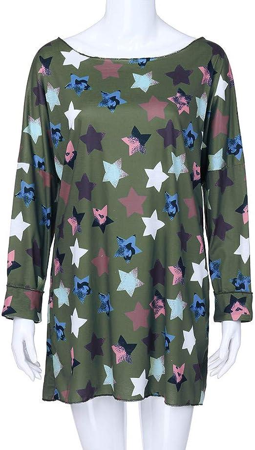 Blusas Mujer Tallas Grandes Estampado De Estrellas De Cinco Puntas Camisa Pull-Over Tops Manga Larga: Amazon.es: Ropa y accesorios