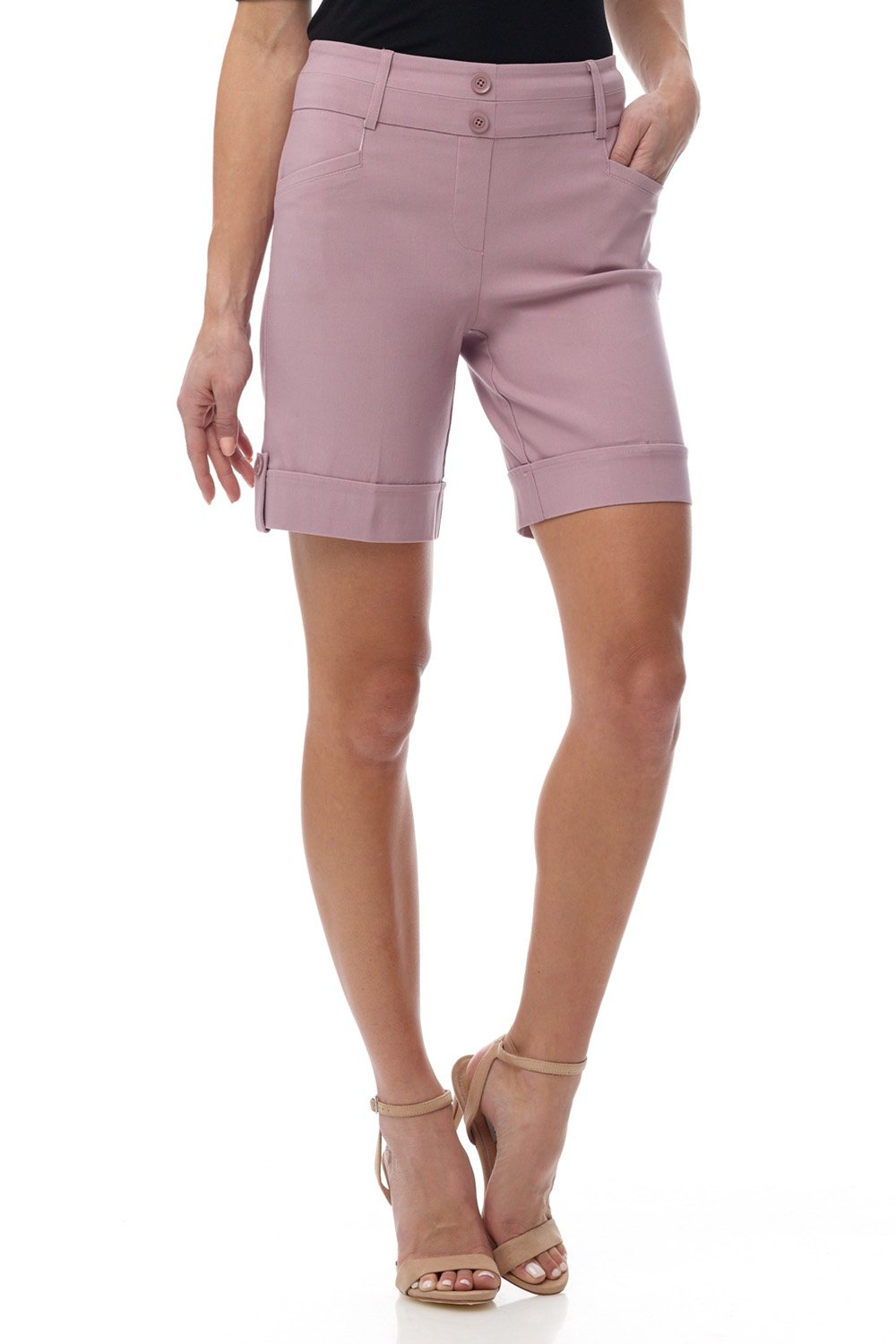 Rekucci Women's Ease in to Comfort Fit 8'' Chic Urban Short (12,Lavender Mist)