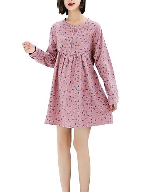 Vestidos para Embarazadas Elegante Manga Larga A-Line Plisado para Mujeres Pink XL: Amazon.es: Ropa y accesorios