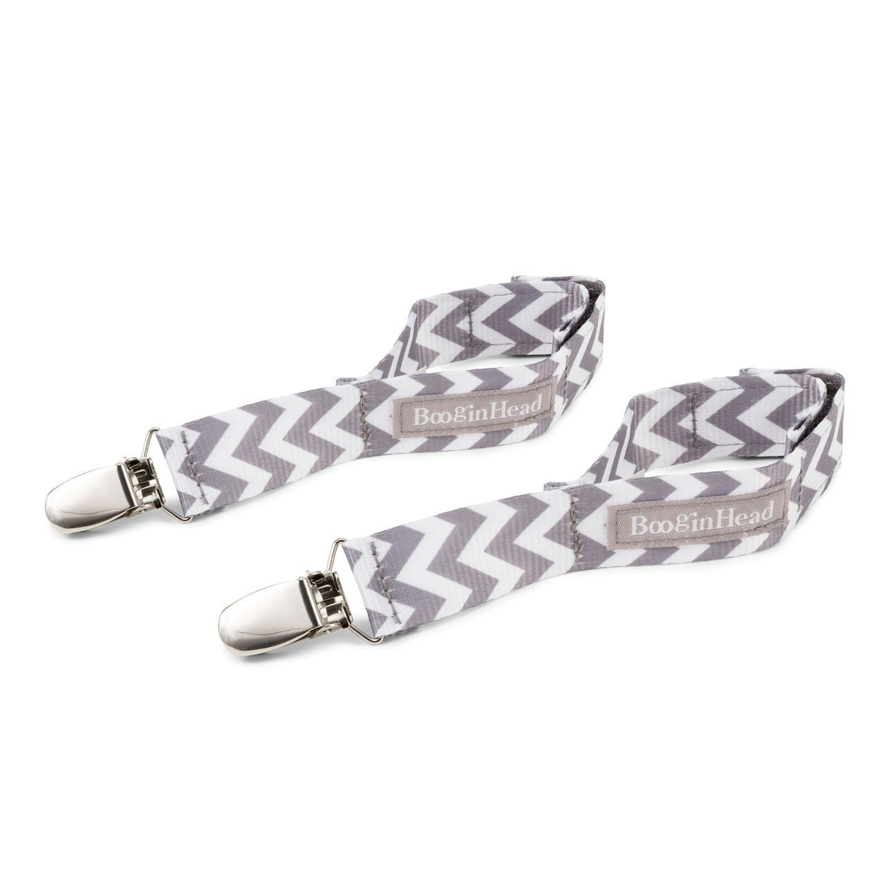 BooginHead - BlanketGrip Blanket Clip for Strollers and Car Seats - Grey White Chevron BG-CHEV
