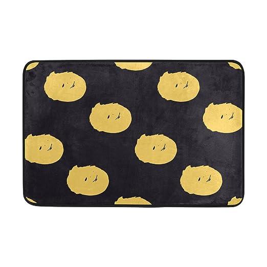 Alfombrilla de baño, Gracioso impresión Amarillo de Lunares Anti ...
