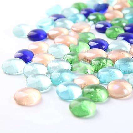 HUPLUE piedras de cristal coloridas decorativas de cristal Rocks Gravel Oranmental cristal cuentas pecera tanque acuario
