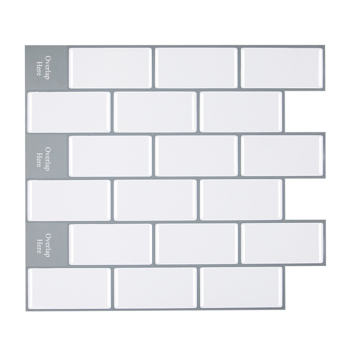 Peel and Stick Subway Tile Backsplash, White with Gray Grout, 11.26'' x 10'' Pack of 8