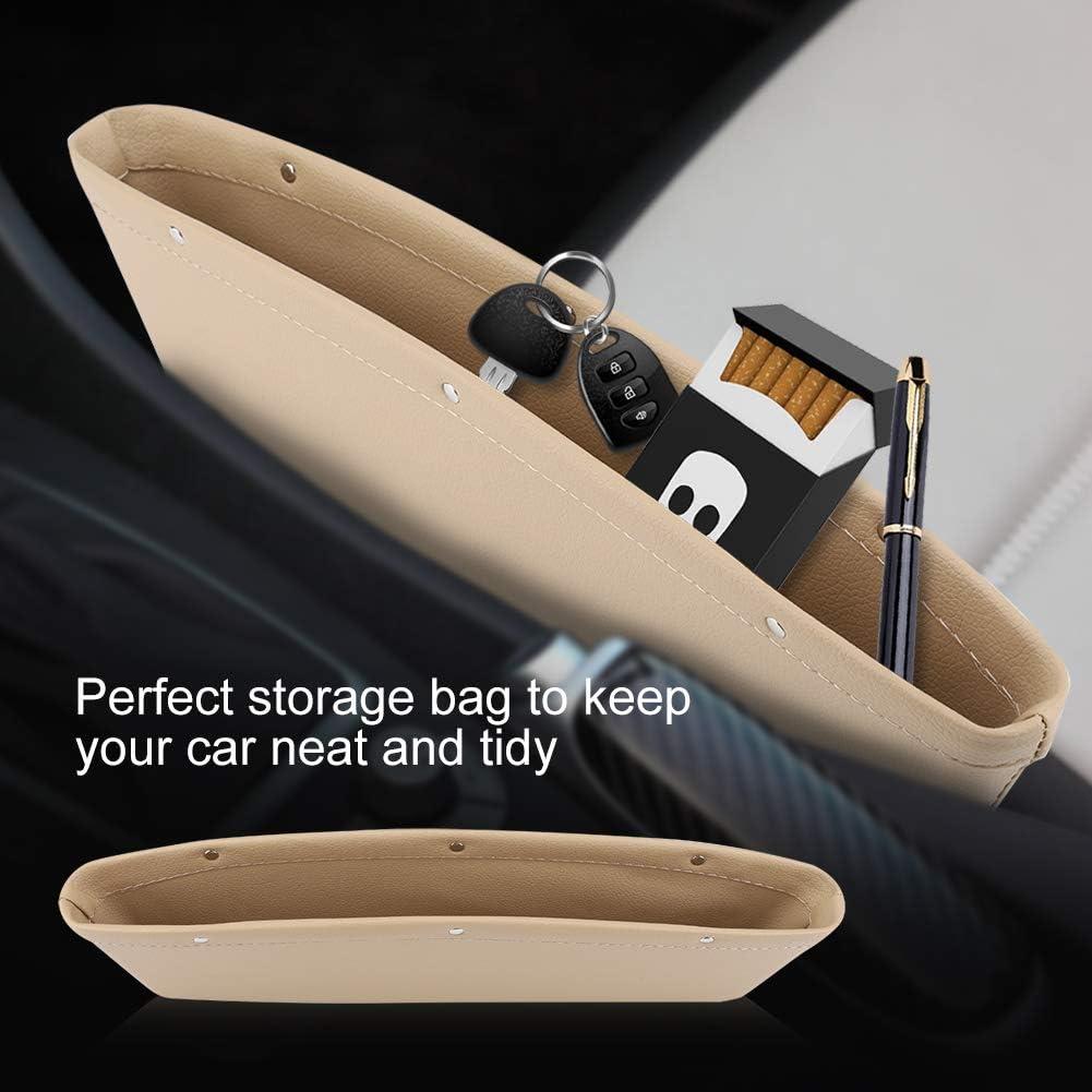 Beige TOPINCN Pu-Leder Fahrersitz Slot Aufbewahrungstasche Slit Pocket Organizer Compartment Auto Aufbewahrungsbox f/ür Telefon Computer Tasten Snacks