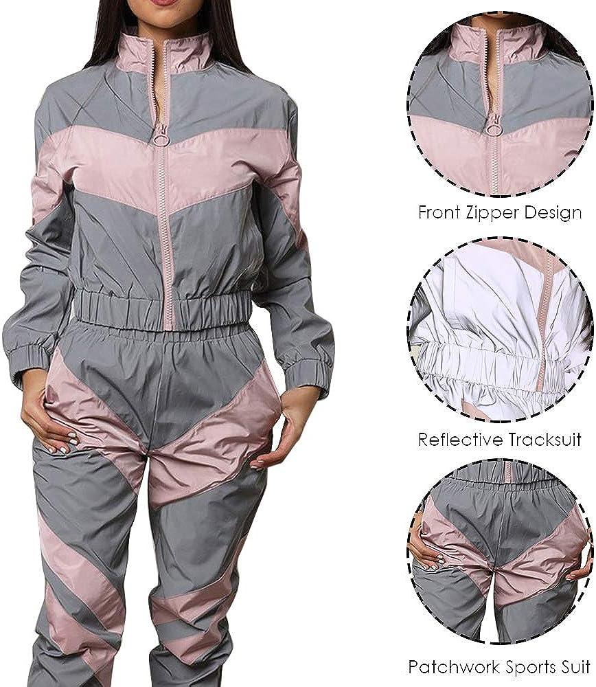 Vertvie Femme Ensembles Sportswear Zipper Top Veste Manches Longues Pantalon de Sport Joggers 2 Pi/èces Surv/êtement de Sport D/écontract/é R/éfl/échissantes Patchwork