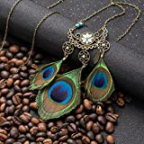 1 Sets Vintage Hollow Moon Dream Catcher Necklace Peacock Feather Long Tassel Indian Mini Arts Craft Feathers Hanging Bedding Room Marvelous Popular Dreamcatcher Kids Bedroom Car Wall Catchers Kit