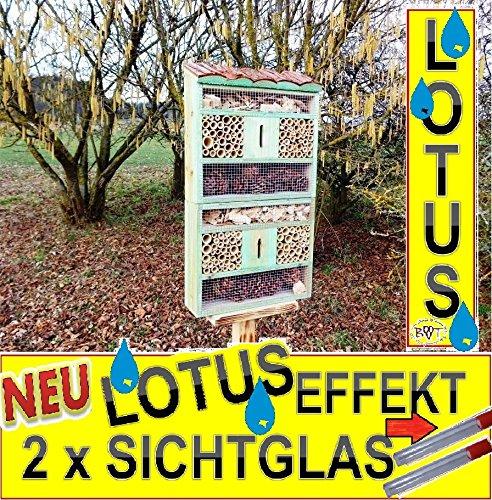 Belle-Grande-nichoirs--oiseaux-dans-Antique-Turquoise-Look-Antique-Bleu-1305-cm-Gross-insektenhotel-avec-support-avec-toit-Naturel-en-corce-de-Bois-avec-revtement-spcial-Lotus-FDV-Holo-MS-comme-complm