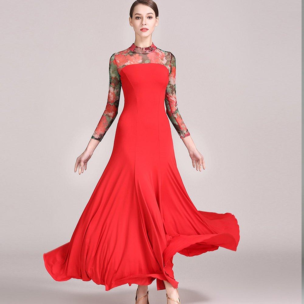 最高級のスーパー モダンな女性の大きな振り子の社交ダンスドレスモダンなダンスドレスタンゴとワルツダンスドレスダンスコンペティションスカートドレス長袖ネットヤーンダンスコスチューム Large|Red B07HHPKH7P Large|Red B07HHPKH7P Red Red Large, つり具のマルニシ:f84c3a3b --- a0267596.xsph.ru