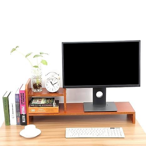 GOTOTOP Elevador de Monitor de Ordenador Portátil Computadora PC Soporte de Pantalla Estante Organizador de Almacenamiento