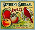 Henderson Kentucky Cardinal Brand Bird Apple Apples Fruit Crate Label Vintage Art Print