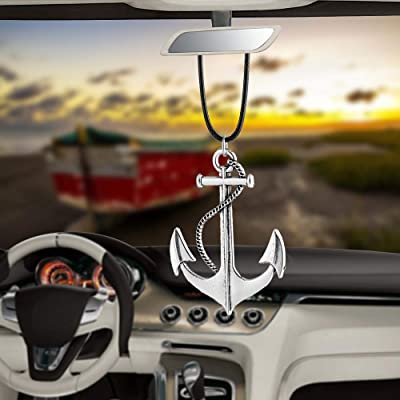 BEMOST Car Pendant Ox Head Ship's Anchor with Skull Hanging Ornaments for Car Rear View Mirror Decoration Charm Car Accessories (Anchor): Home & Kitchen