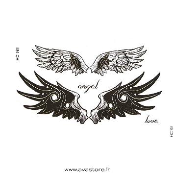 Tatuajes temporales de alas de ángel- Tatuaje efímero de alas de ...