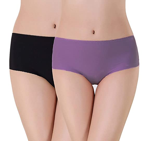 17d94532a GLAMORAS Women s Seamless No Panty Lines Hipster Panties-Free Size (Pack of  2) Black Purple  Amazon.in  Clothing   Accessories