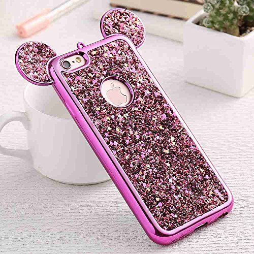 - AccessoryHappy Glitter Mickey Ears Case, Luxury Protective TPU Bling Crystal Rhinestone Sparkle Glitter Diamond Case Cover Compatible iPhone 6 & iPhone 6s [4.7