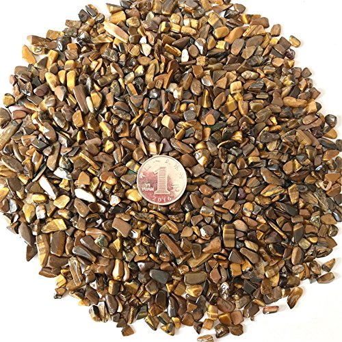(AITELEI 1 lb Natural Tiger Eye Stone Tumbled Chips Crushed Stone Healing Reiki Crystal Irregular Shaped Stones Jewelry Making Home Decoration)