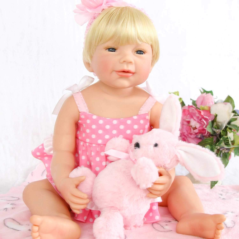 Pursue Baby Washable Lifelike Reborn幼児用フルボディベビー人形ブロンドの髪Poppy、22インチRealistic新生児赤ちゃん人形子供ギフト   B07DG9ZMLG