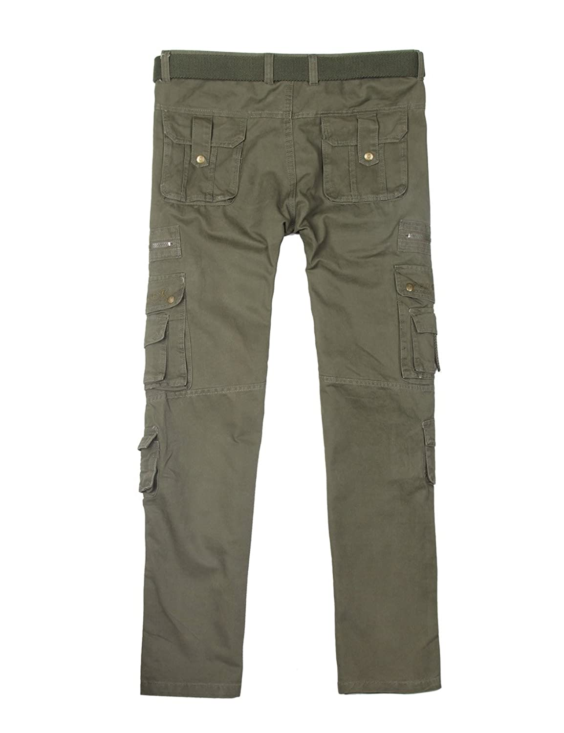 Menschwear Mens Multi Pockets Cargo Trousers Military Style with Belt:  Amazon.co.uk: Clothing