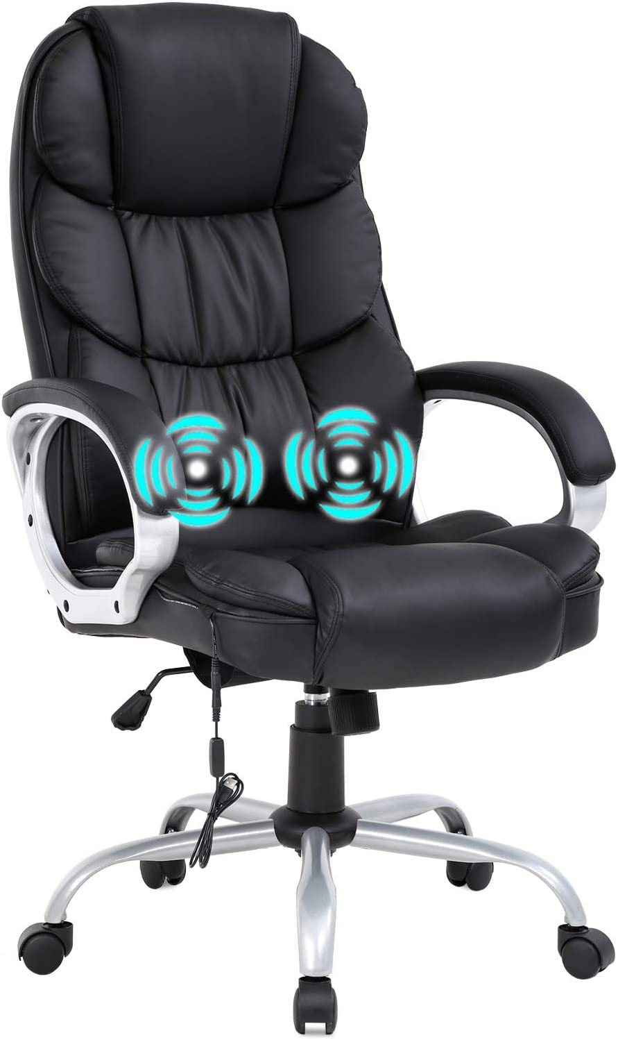 Home Office Chair Massage Desk Chair Ergonomic Computer Chair with Lumbar Support Headrest Armrest High Back Task Chair Rolling Swivel PU Leather Executive Chair for Women Adults, Black: Furniture & Decor