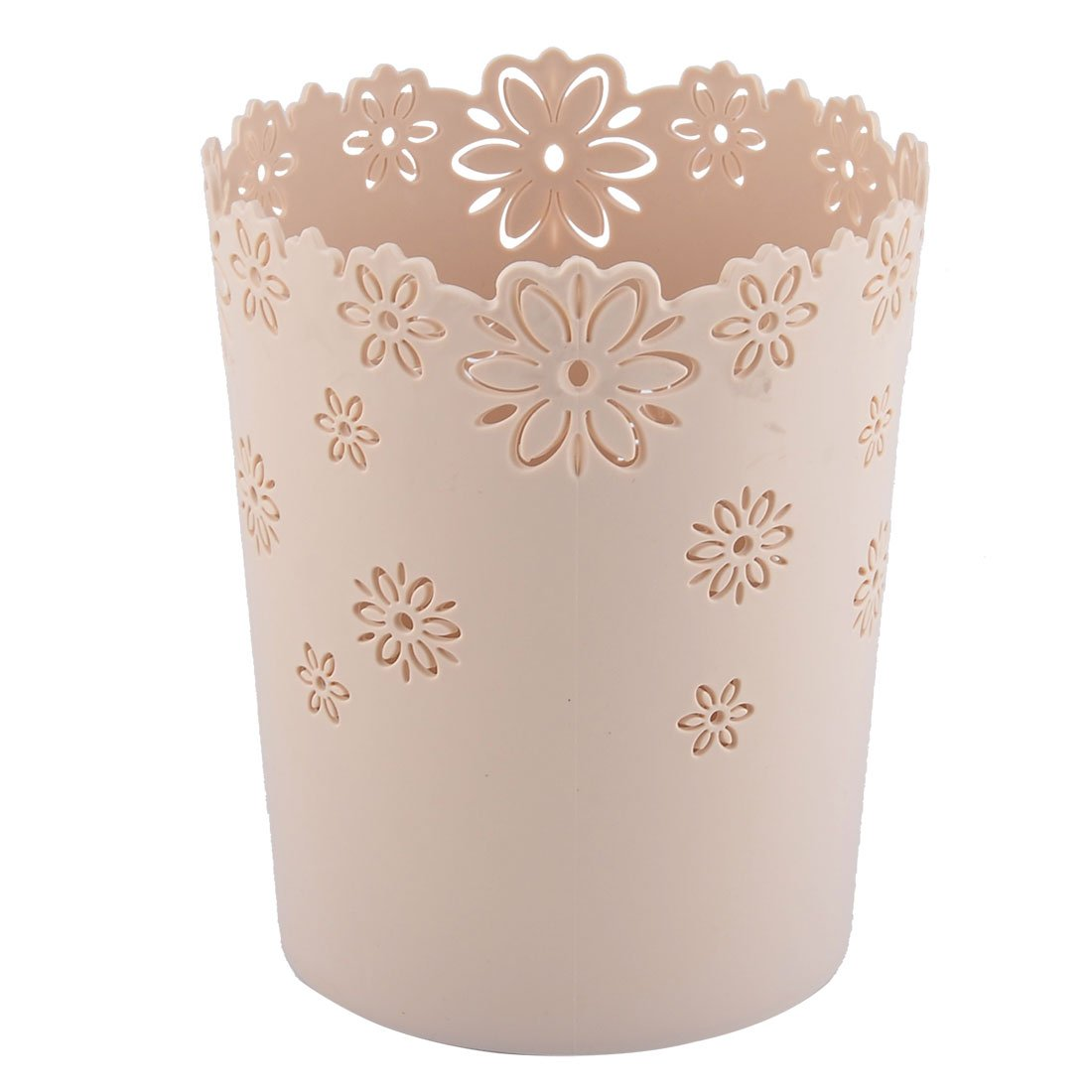 uxcell Plastic Flower Pattern Household Hollow Out Waste Paper Trash Garbage Can Beige