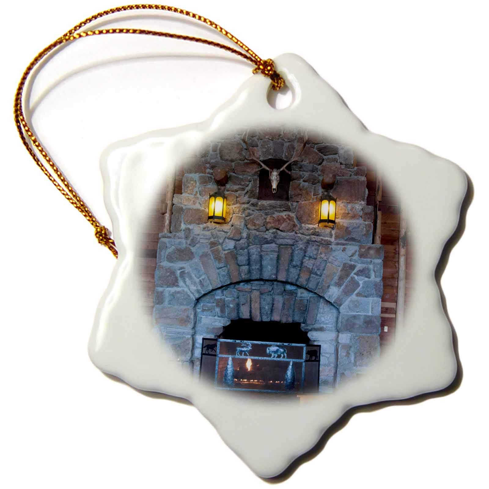 3dRose Jos Fauxtographee- Yellowstone Fireplace - The Yellowstone Hotel with The Huge Fireplace of Brick - 3 inch Snowflake Porcelain Ornament (ORN_293356_1)