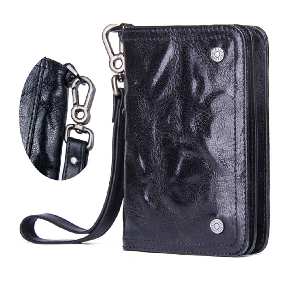 Color : Black, Size : S Lydianzishangwu Mens Wallet Multi-Function Leather with Wrist Strap Short Top Layer Leather Clutch