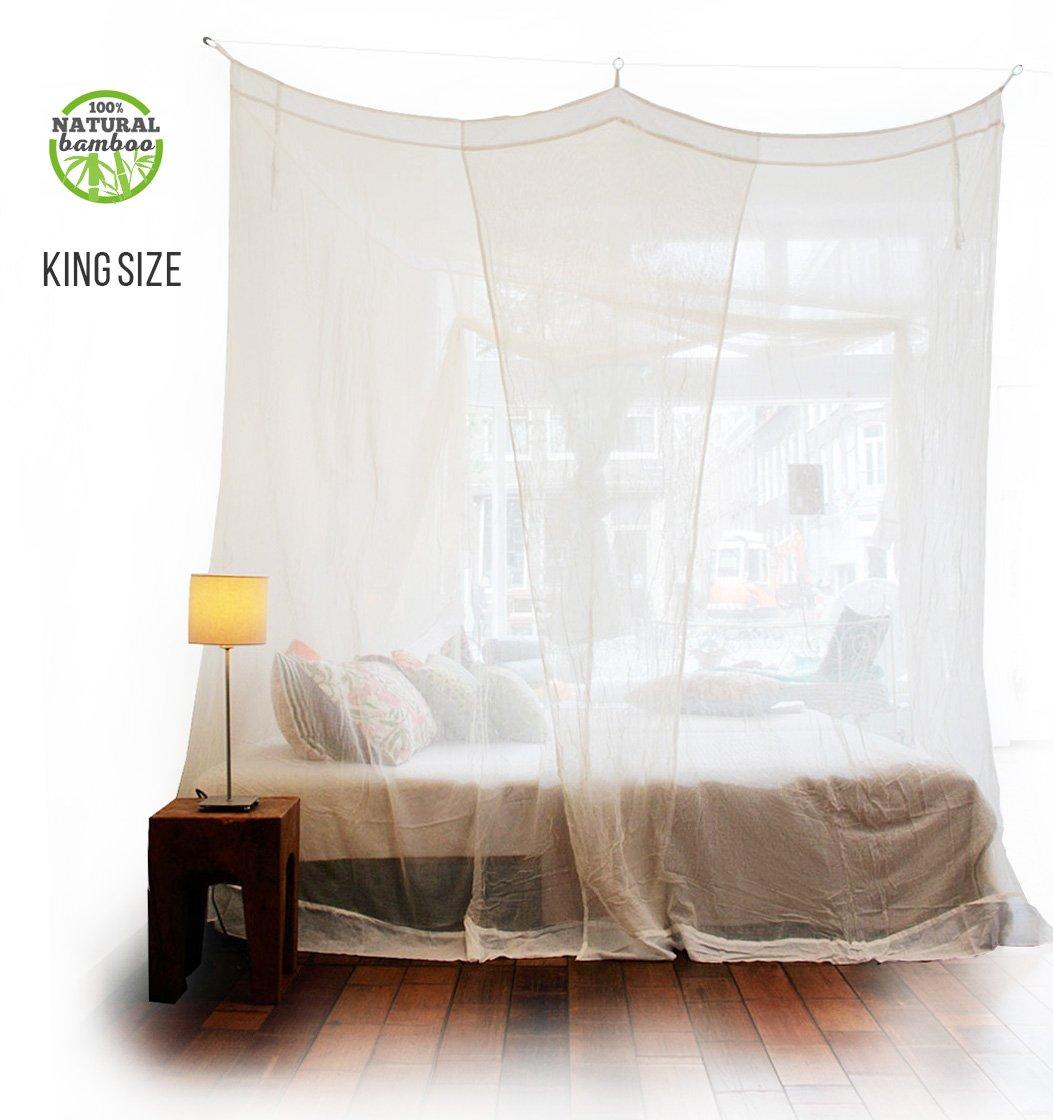 Rechteckiges Bambus Moskitonetz - oder Doppelbetten von KLAMBOE ® Überlegenes, handgemachtes, Rechteckiger Mückennetz - 220cm x 230cm x 235cm - King Größe - Weiß
