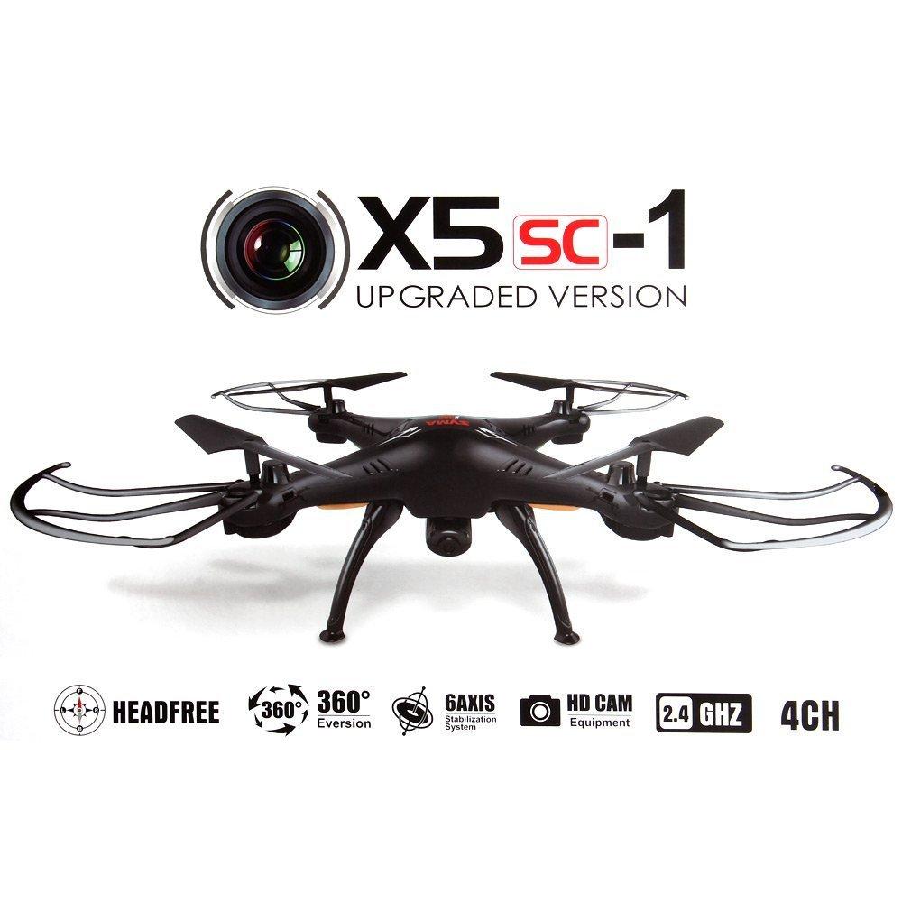 Syma XSC Drone cuadricóptero con control remoto y cámara HD Negro