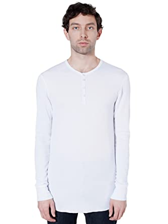 American Apparel Men Baby Thermal Henley Long Sleeve T-Shirt Size XXS White