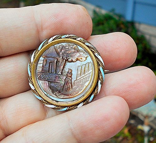 1890 Victorian Antique - Antique (1890) Hand Carved Mother of Pearl Small Cameo Victorian Woman In Beautiful Landscape in Twisted Rope & Pink , Blue Enamel Brooch.