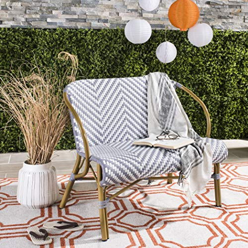 (Safavieh PAT4016B Outdoor Collection Dandra Grey and White Herringbone Rattan Settee )
