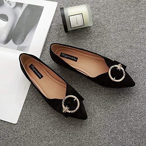 Eeayyygch Court Schuhe Scharfe Flache Schuhe Flache Mündung Flache Schnalle Schnalle Schnalle mit flachen Schuhen weibliche Wilde Schuhe mit niedrigem Absatz 38 schwarz (Farbe   - Größe   -) 99bbeb