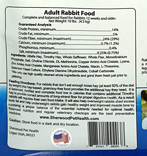 Pictures of Sherwood Pet Health Rabbit Food Adult 10 4