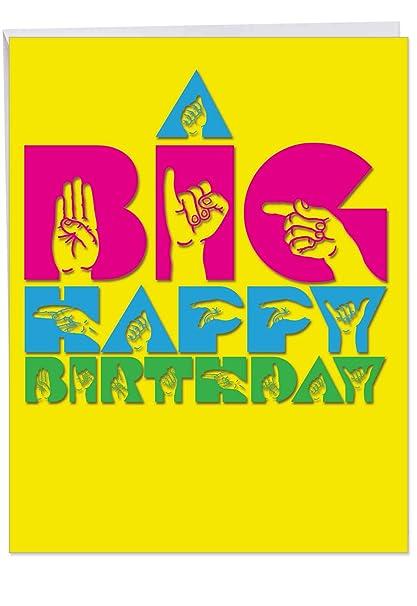 Amazoncom J4974abdg Jumbo Birthday Greeting Card Big Signs Happy